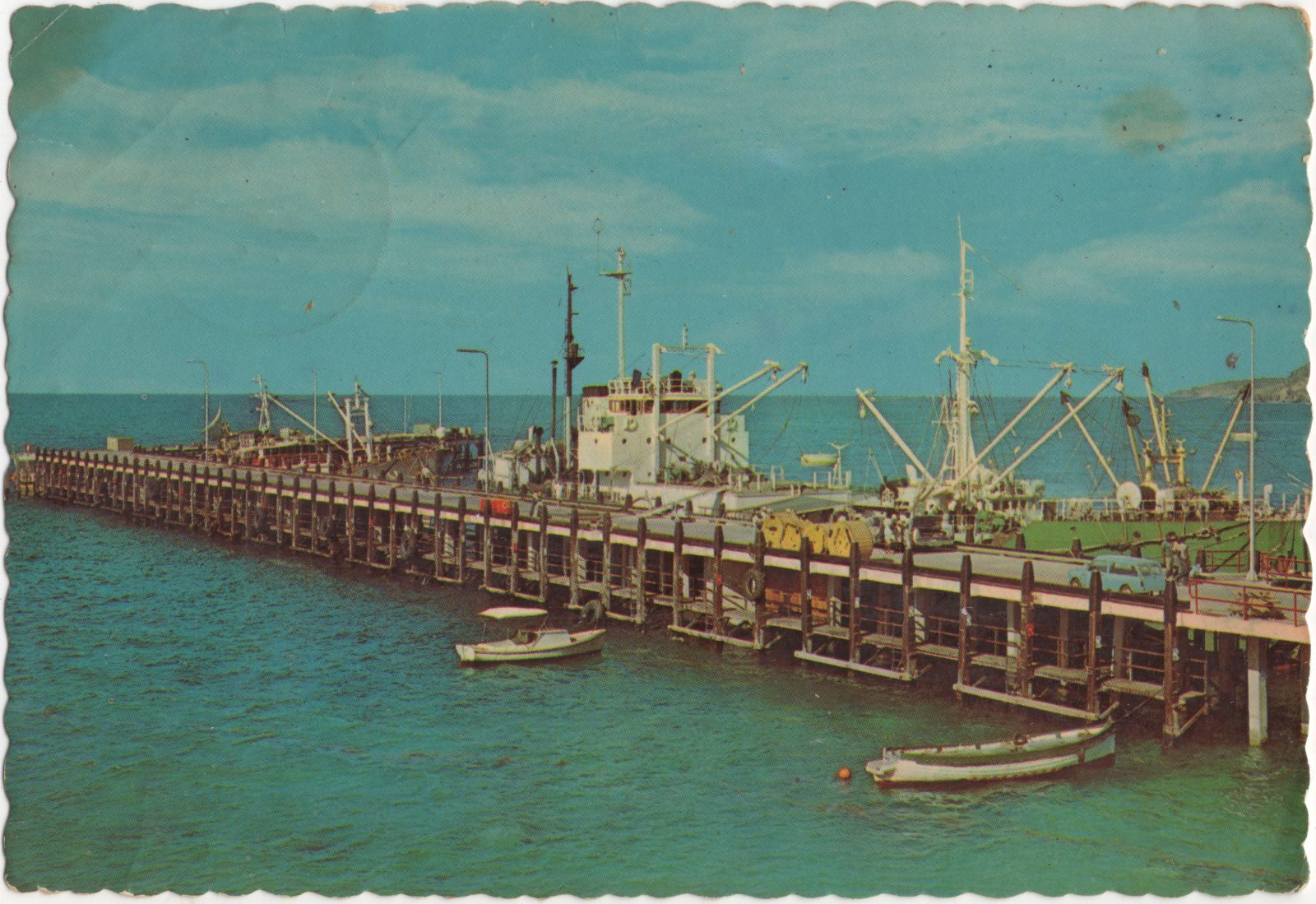 Cruise ship terminal, Philipsburg Sint Maarten. Color postcard.  Barbara Cannegieter Collection